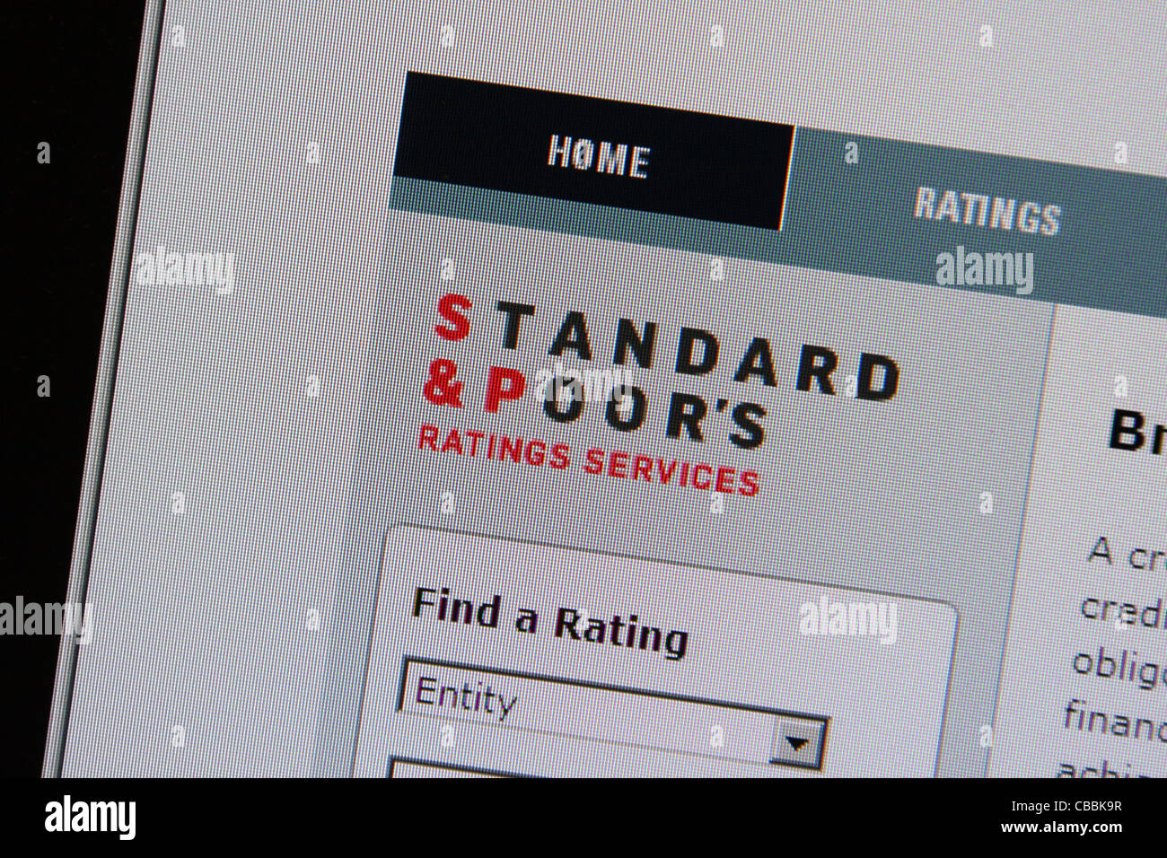Standards & Poor's 'standard and poors' s&p - Stock Image