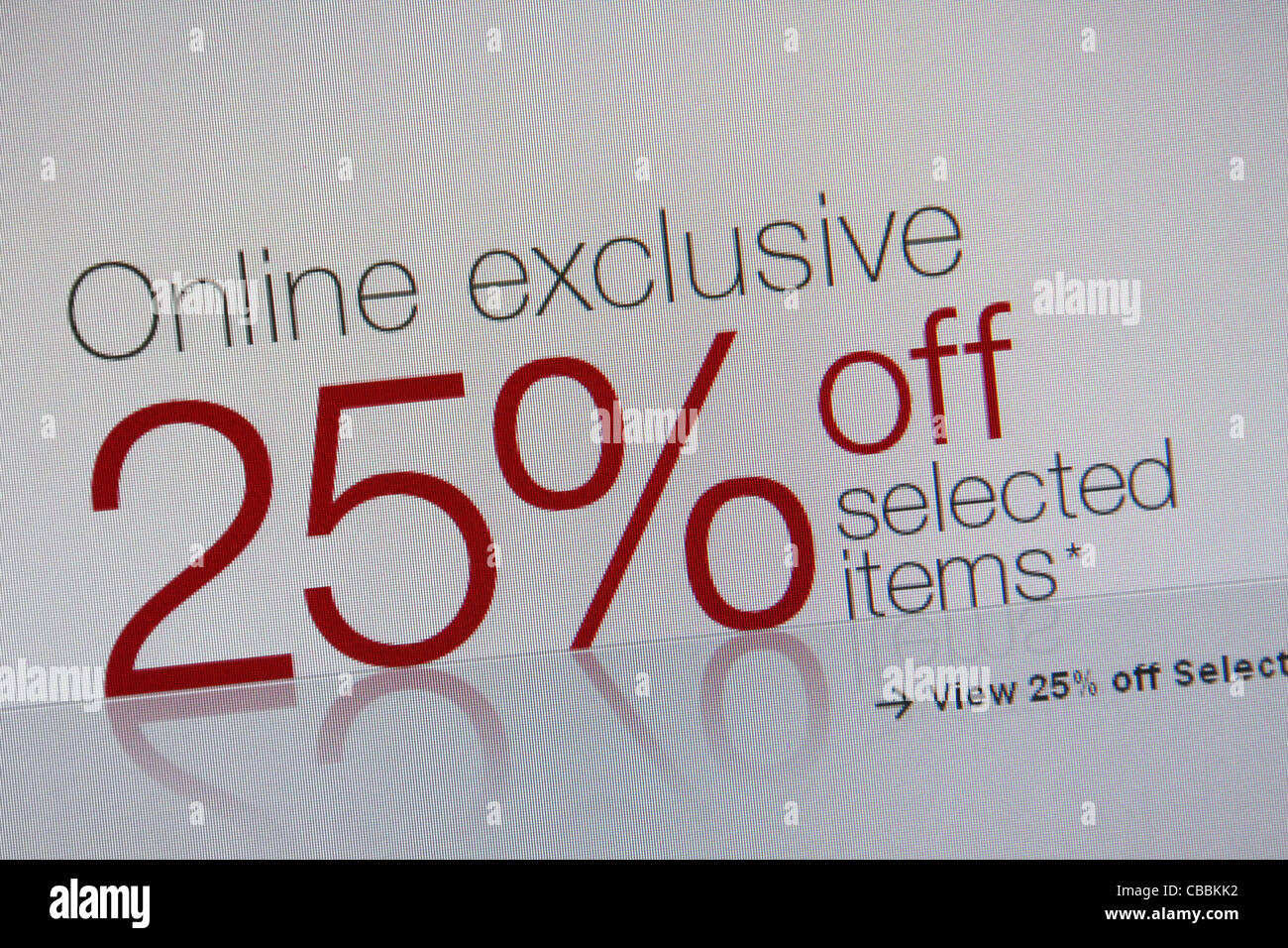 online shopping discount 25% off - Stock Image
