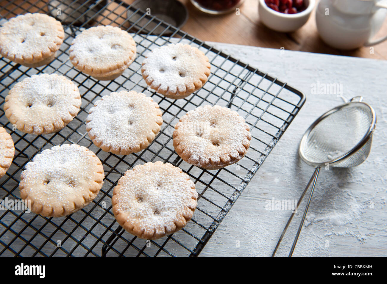 Freshly Baked Mince Pies on a Cooling Rack and Been Sprinkled With Icing Sugar - Stock Image