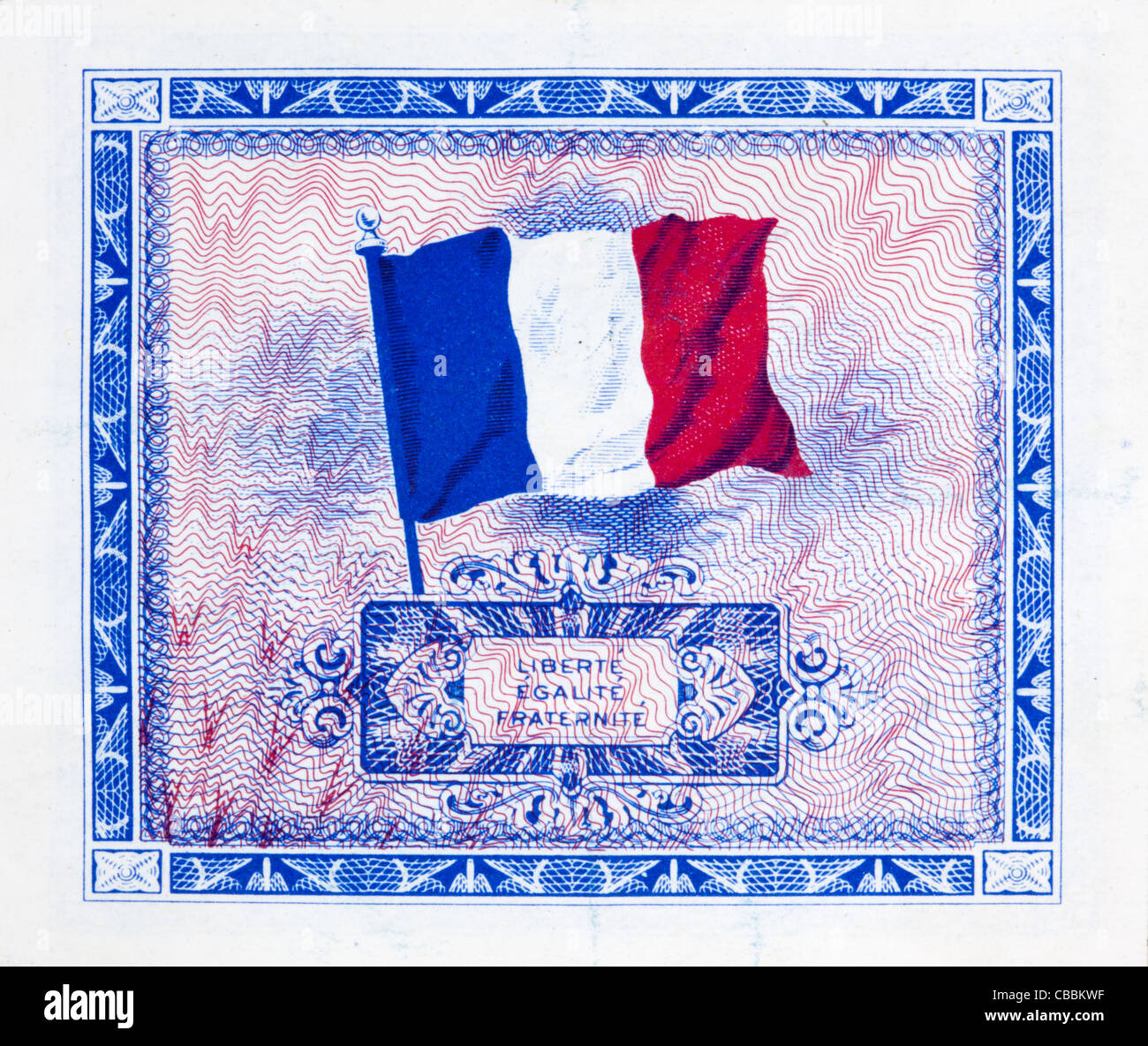 1944 Supplemental French Franc Currency used by the Allied Forces in Europe during World War II Stock Photo