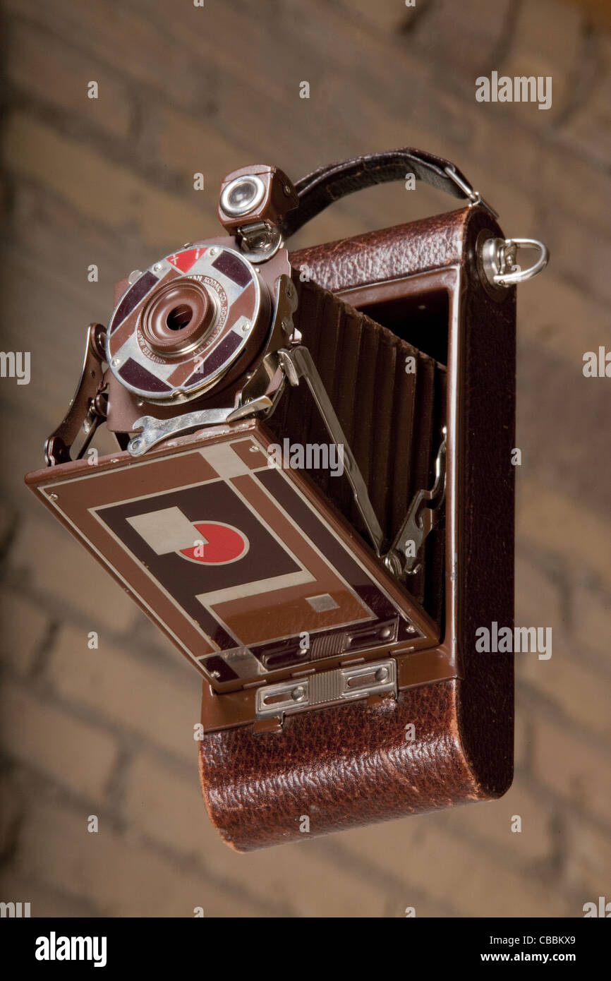 The Gift 1A Kodak camera was specially made for the 1930 Christmas season.  It was designed by Walter Dorwin Teague. Stock Photo