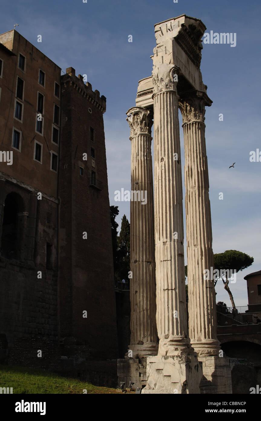 Italy. Rome. Temple of Concord. 4th century BC. Dedicated to roman goddess Concordia. Roman Forum. - Stock Image