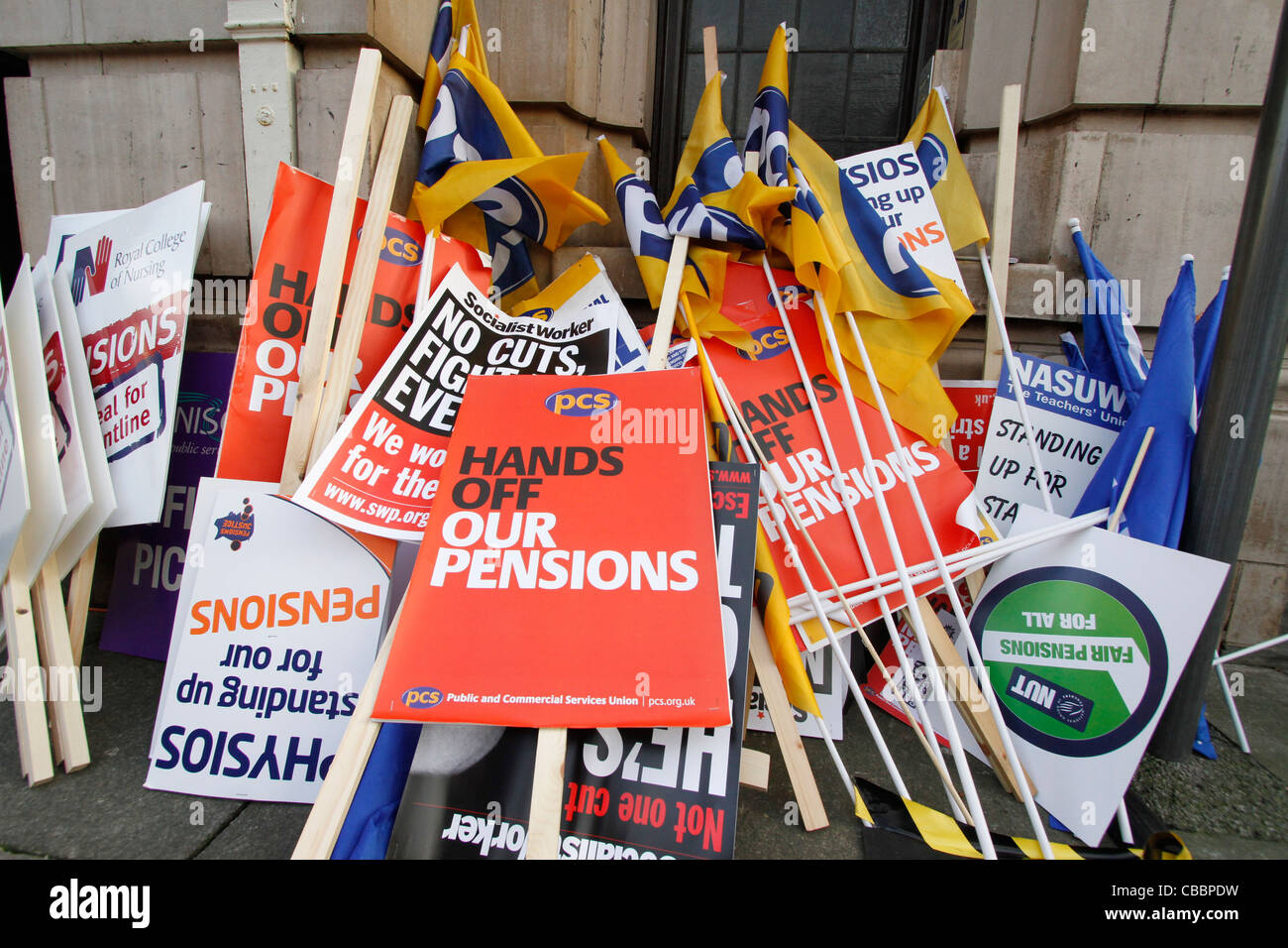 The rally at the Albert Hall after the March from the Recreation ground to the Albert Hall Unison - Pension Justice - Stock Image