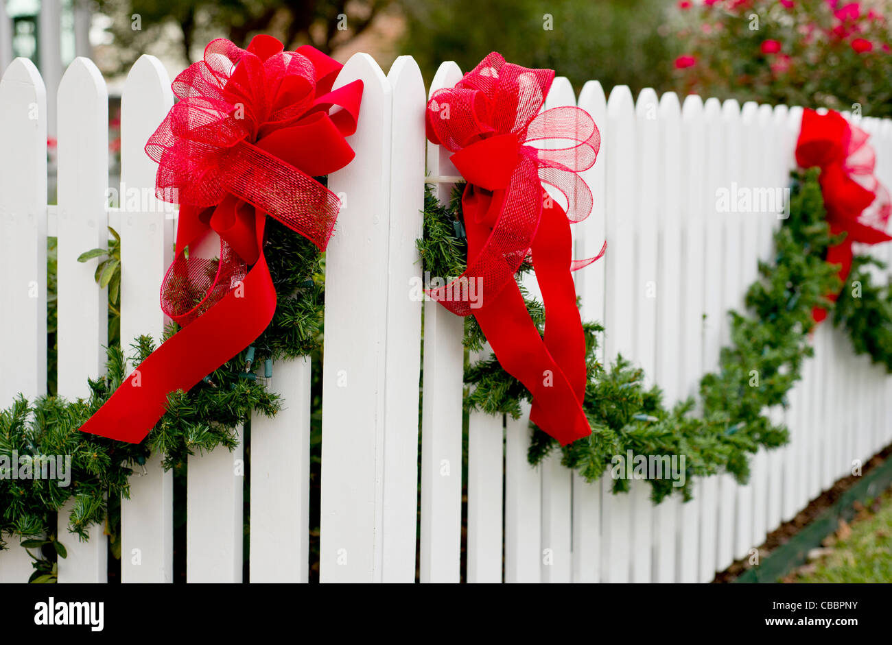Christmas Bow Decorate Fence Stock Photos Christmas Bow Decorate