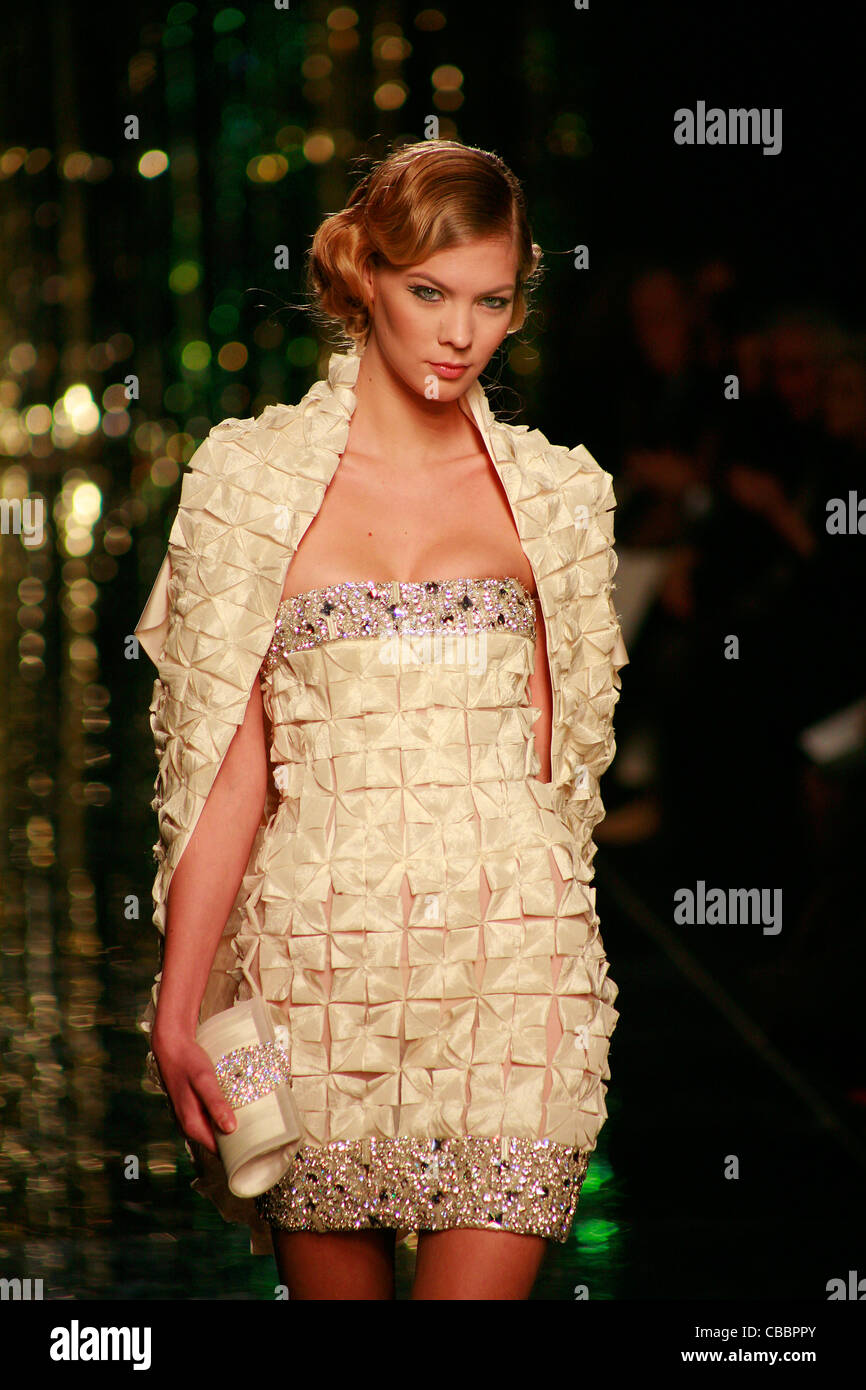 Fashion model on catwalk during Rome fashion week alta Roma haute couture - Stock Image