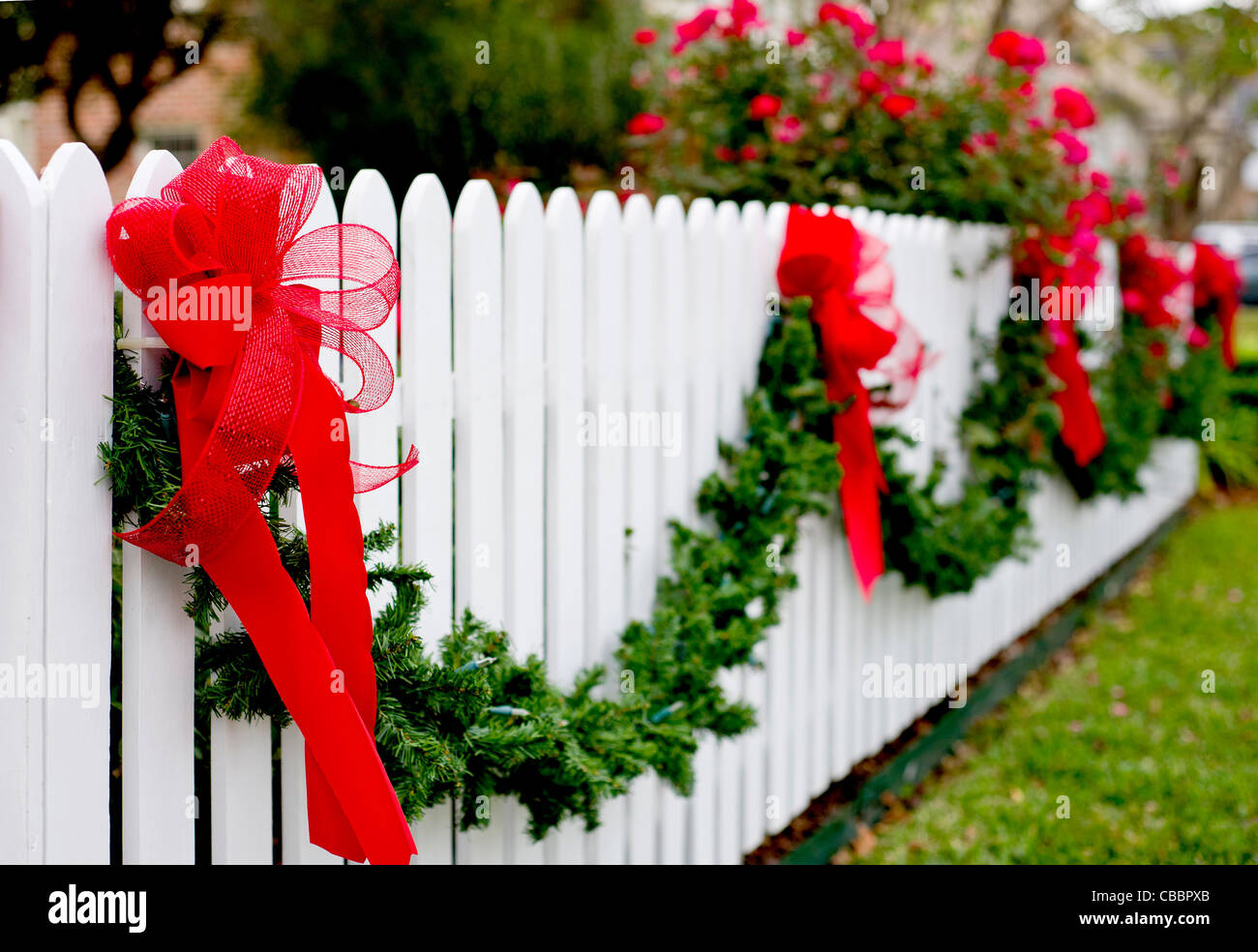 Garland and ribbons hang on a white picket fence for the holidays. - Stock Image