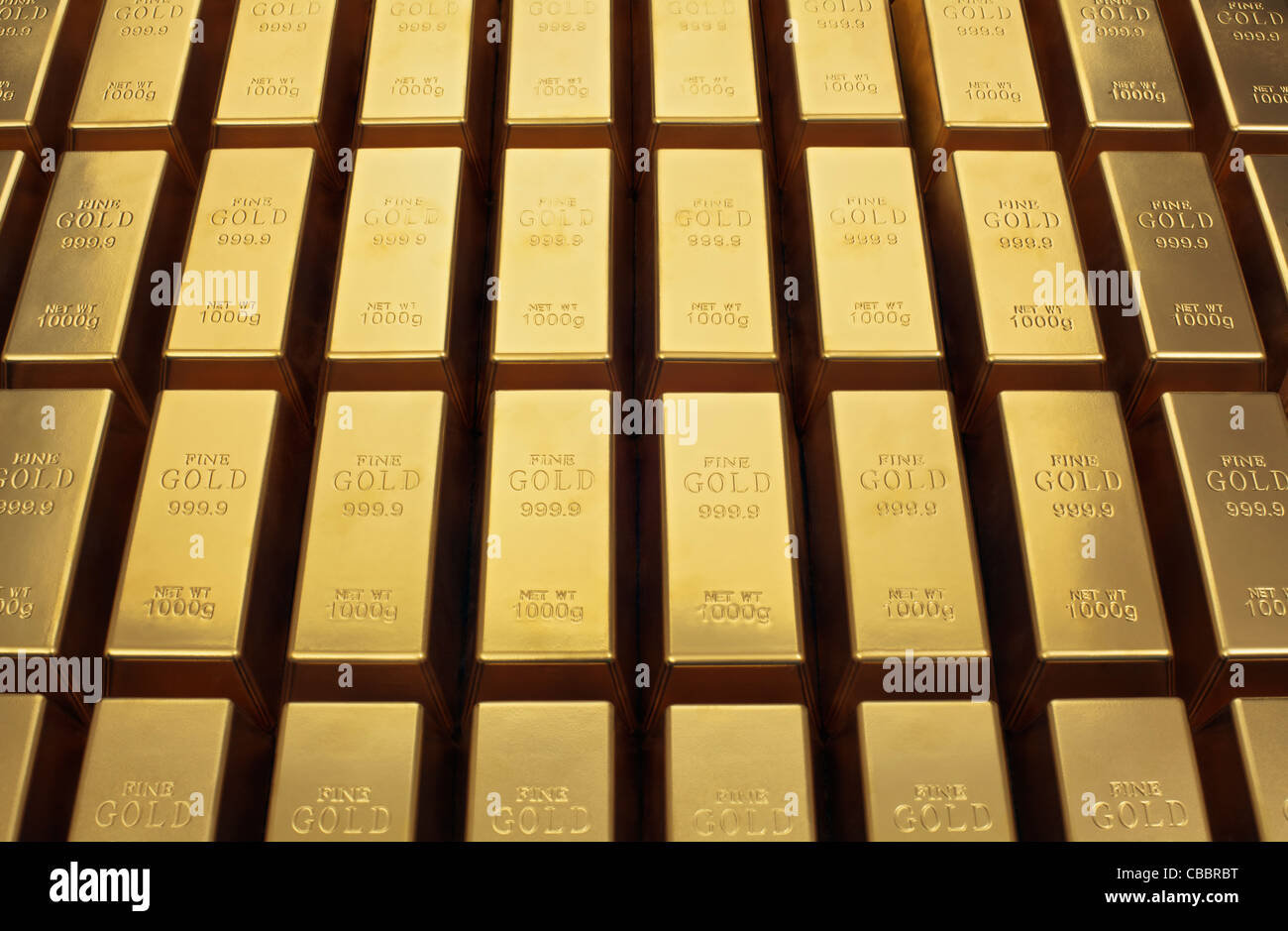 Close up of gold bars - Stock Image