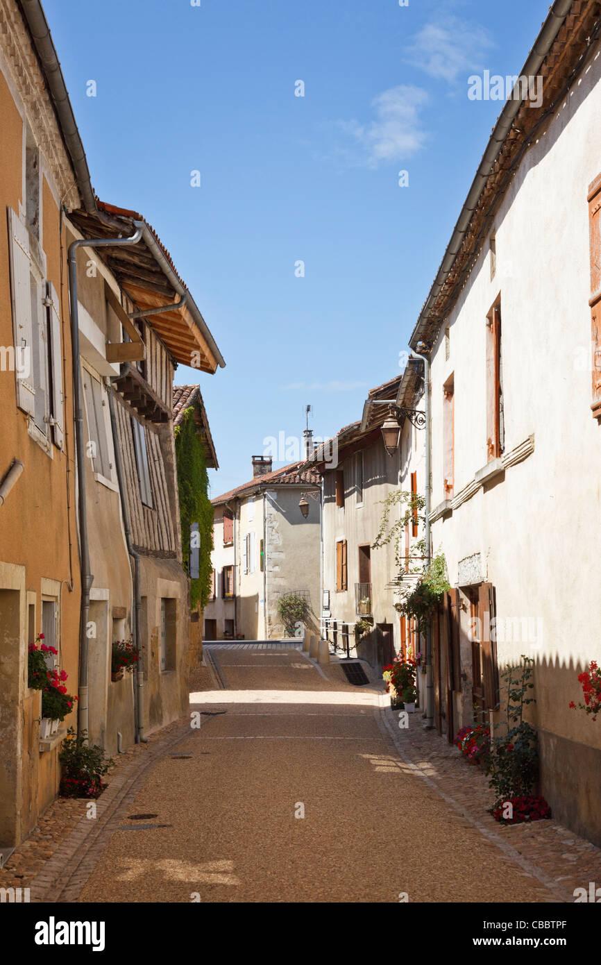 Pretty street in Saint Jean de Cole, Dordogne, France - Stock Image