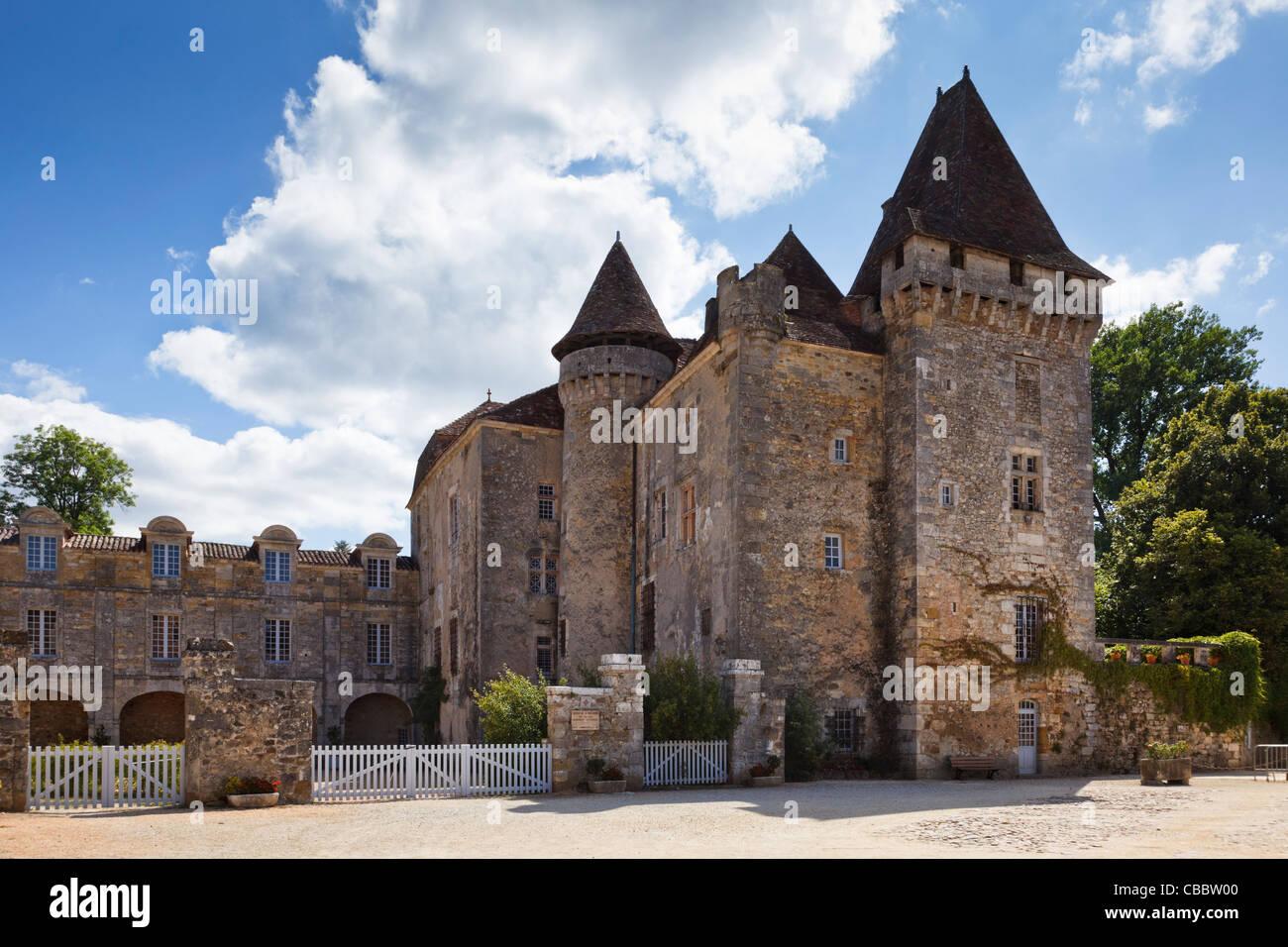 Dordogne - Chateau de la Marthonie in Saint Jean de Cole, Perigord Vert, Dordogne, France - Stock Image