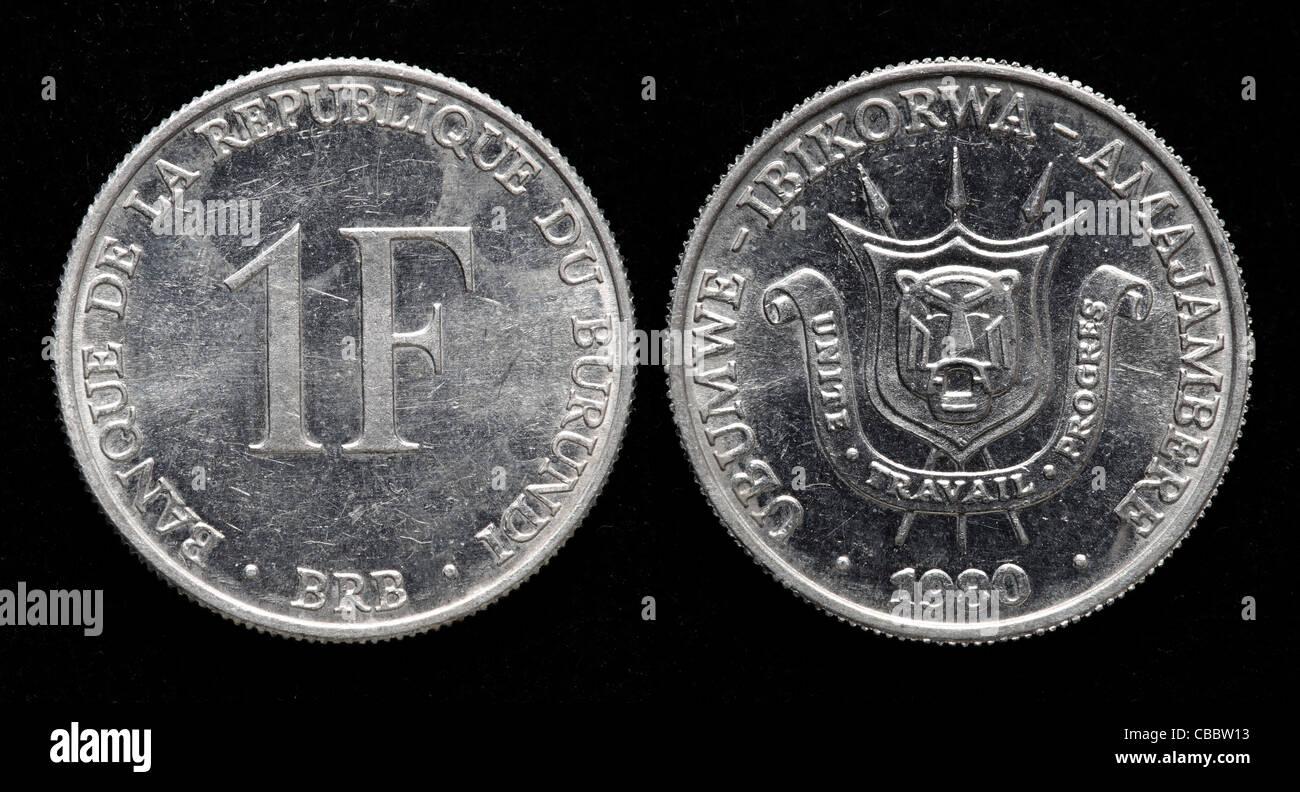 1 Franc coin, Burundi, 1980 - Stock Image