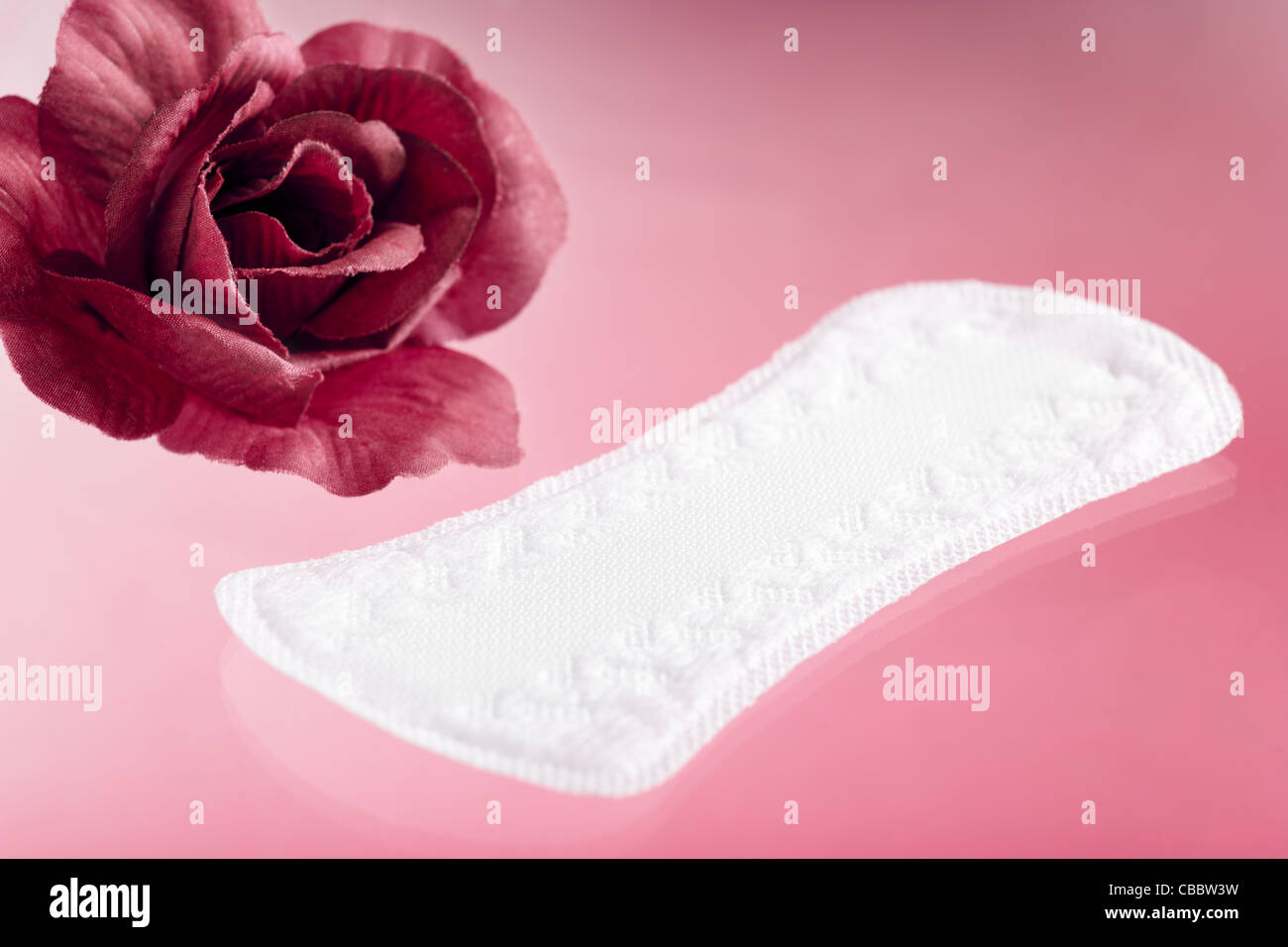 Panty Liner with Rose on Pink Background - Stock Image