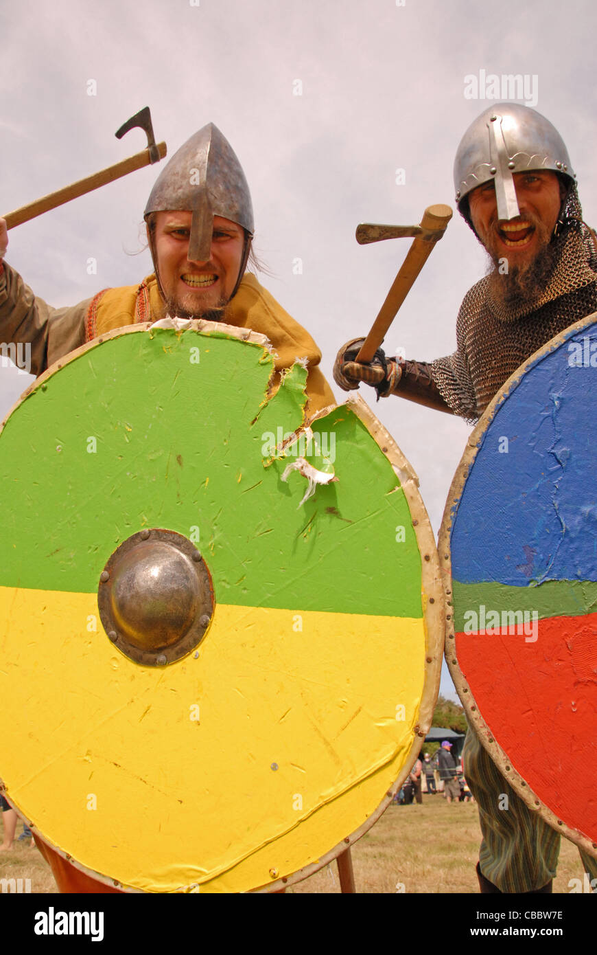 Viking attack was taken on an open weekend the viking festival at amlwch anglesey north wales uk - Stock Image