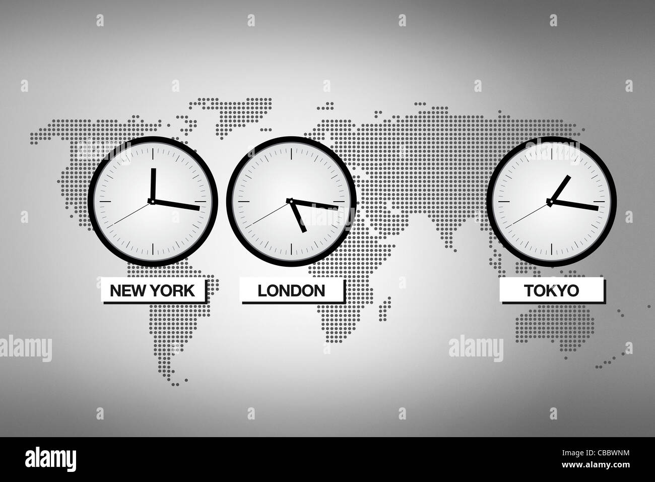 Abstract world map with clocks representing different time zones in abstract world map with clocks representing different time zones in big cities like tokyo london and new york gumiabroncs Gallery