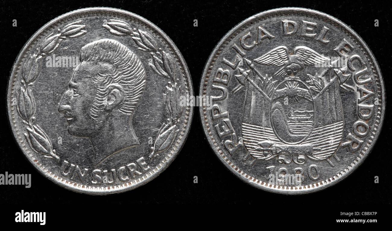 1 Sucre coin, Ecuador, 1980 - Stock Image