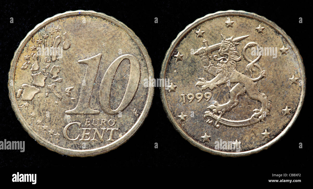 10 Euro Cent Coin Finland 1999 Stock Photo 41444230 Alamy