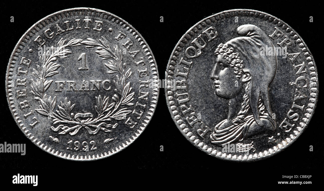1 Franc coin, France, 1992 - Stock Image
