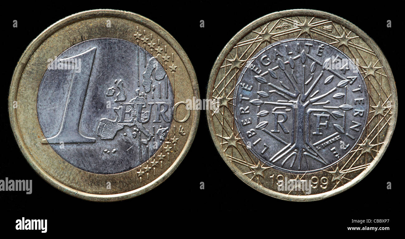 1 Euro coin, France, 1999 - Stock Image