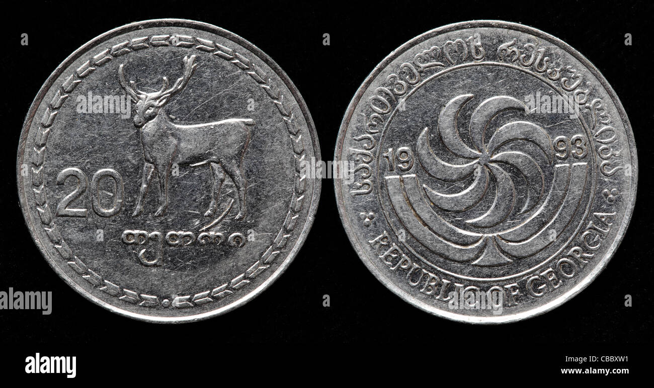 Red deer Buck animal wildlife coin 1993 Georgia 20 thetri