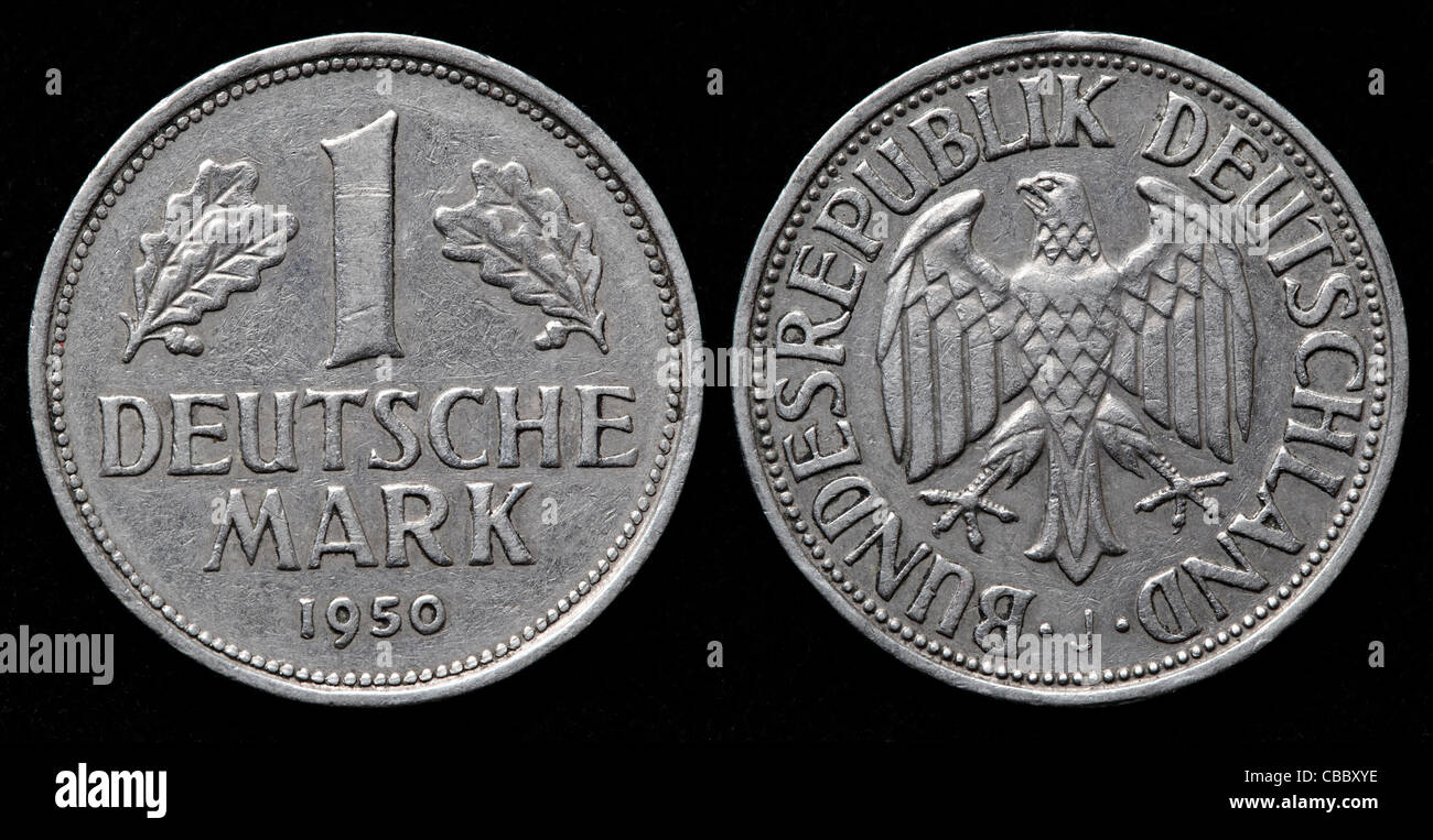 1 deutsche mark coin west germany 1950 stock photo. Black Bedroom Furniture Sets. Home Design Ideas