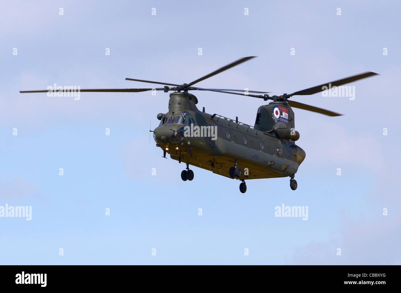 Chinook HC2A helicopter, operated by 18/27 Squadron of the RAF, on approach for landing at RAF Fairford, UK - Stock Image