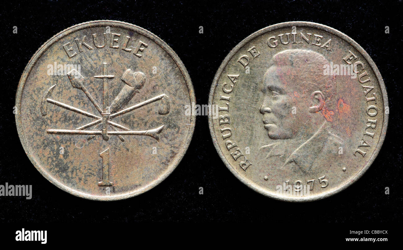 1 Ekuele coin, Equatorial Guinea, 1975 - Stock Image