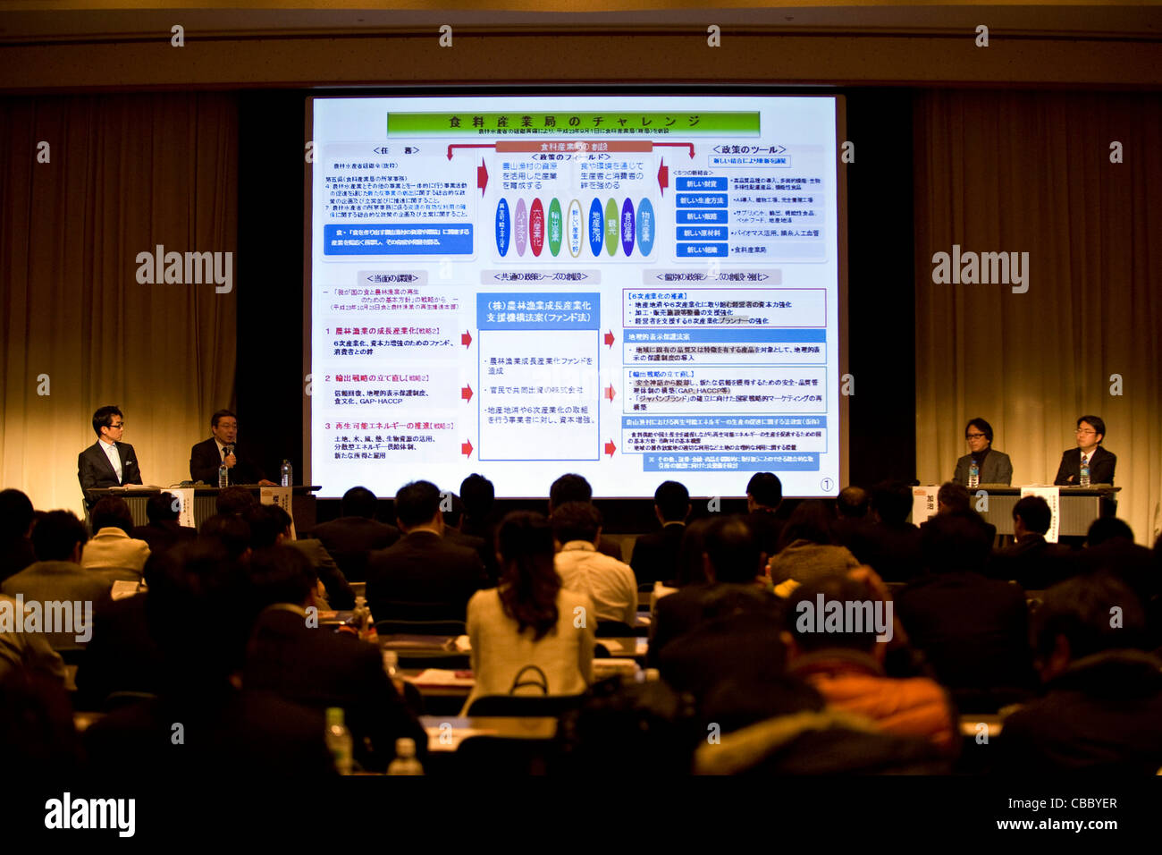 A round table is held during the Food Industry Summit 2011 in Sendai, Japan - Stock Image
