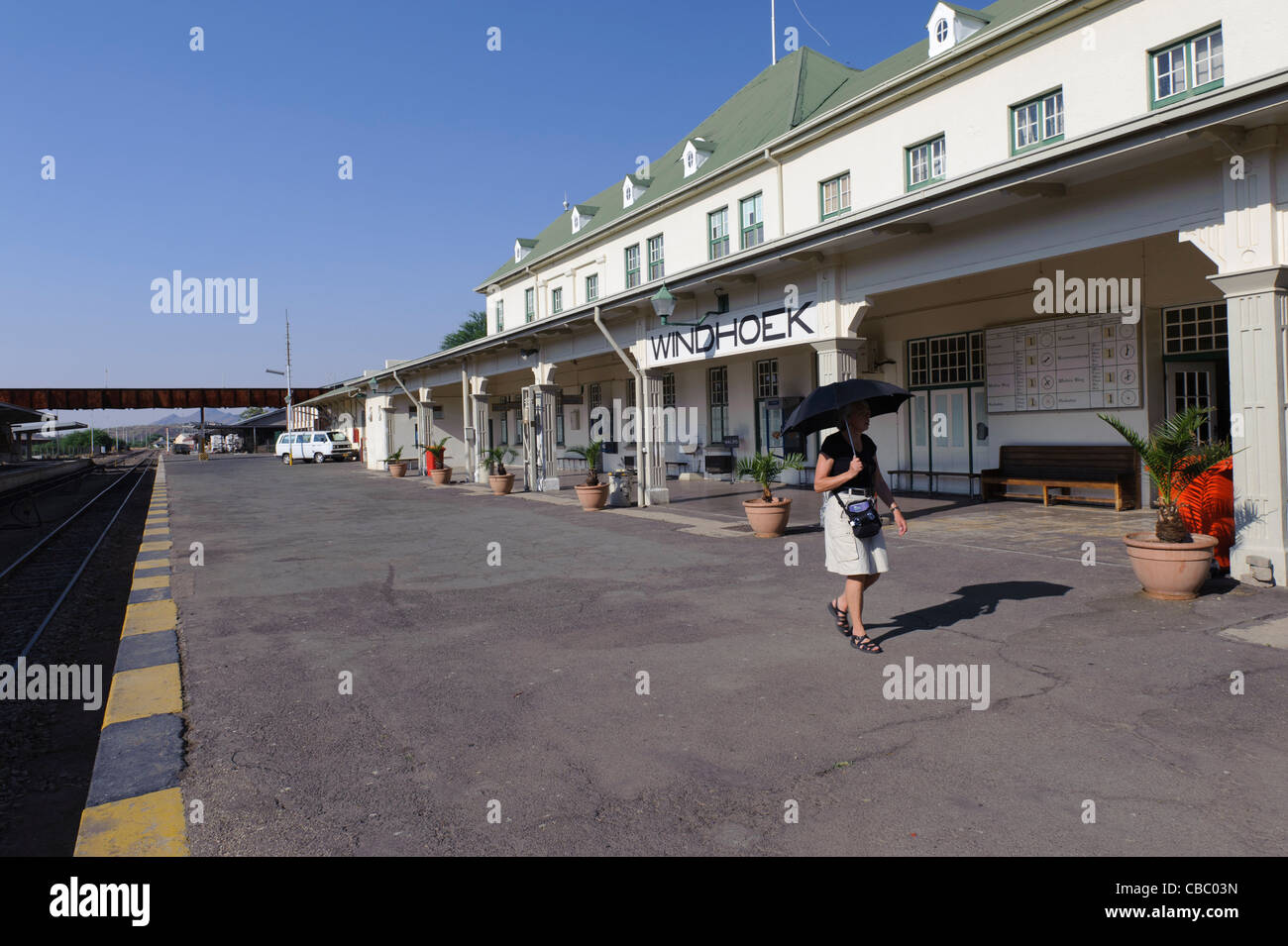 Platform of the Cape Dutch-style train station in Windhoek, Namibia. - Stock Image