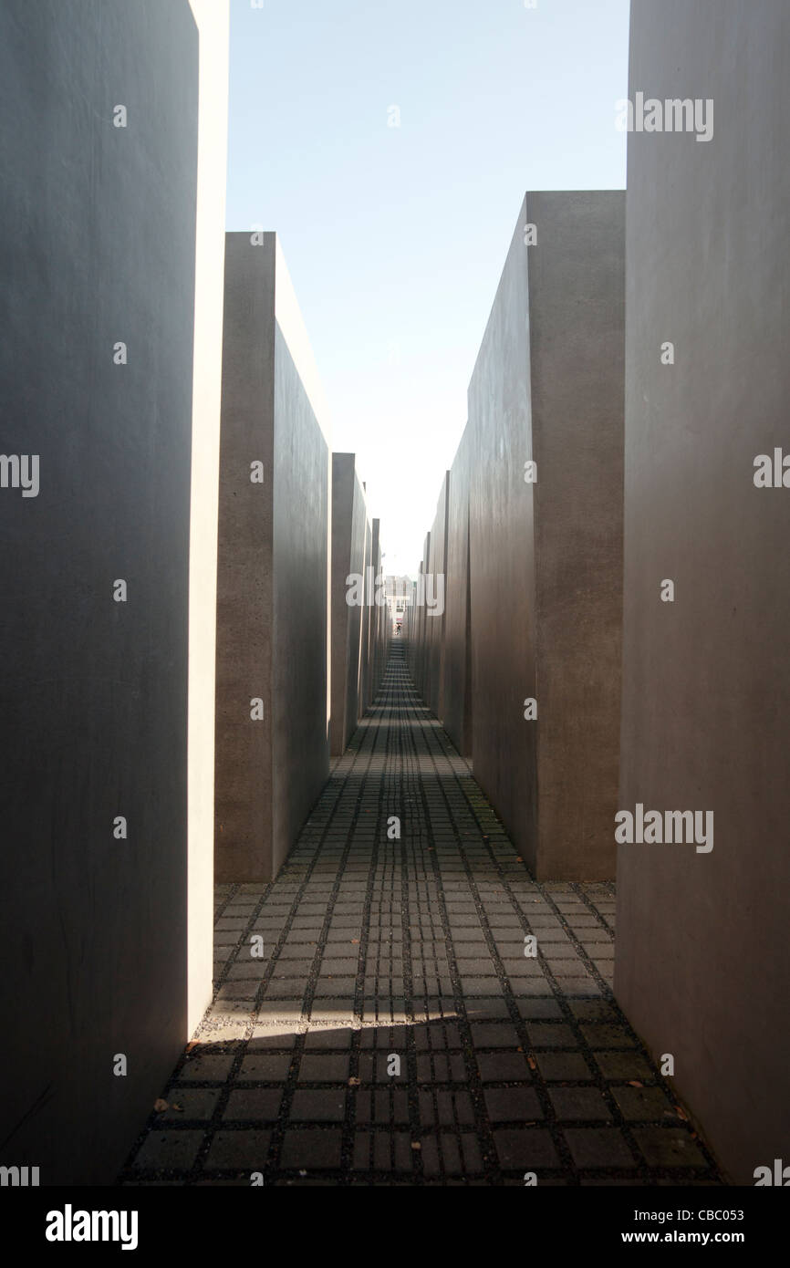 The Memorial to the Murdered Jews of Europe in Berlin, Germany; Denkmal für die ermordeten Juden Europas Stock Photo