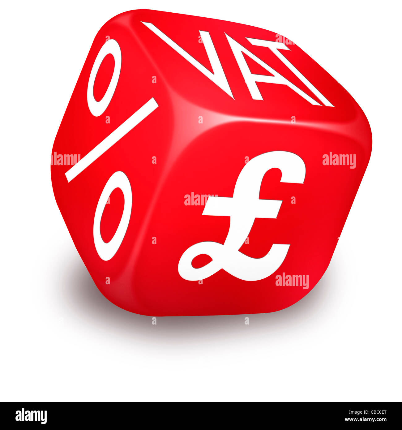 Red rolling dice with VAT, Percentage and British Sterling Symbols printed on its sides - Stock Image