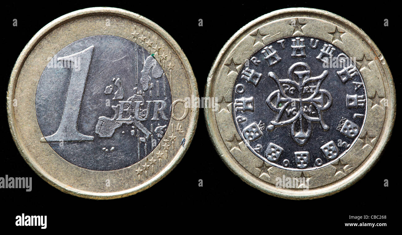 1 Euro coin, Portugal, 2002 - Stock Image