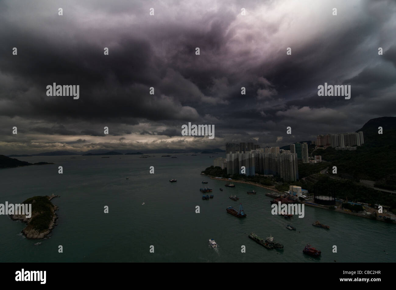 A big storm over the South China Sea. - Stock Image