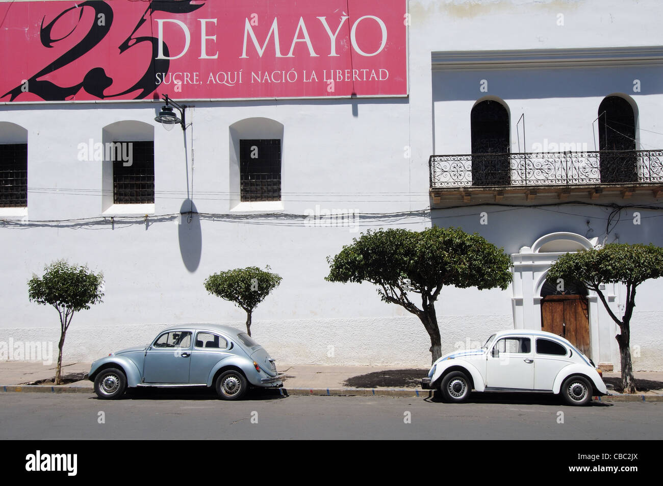 Two Vw Beetles Parked In A Street In Sucre Bolivia Cbc Jx