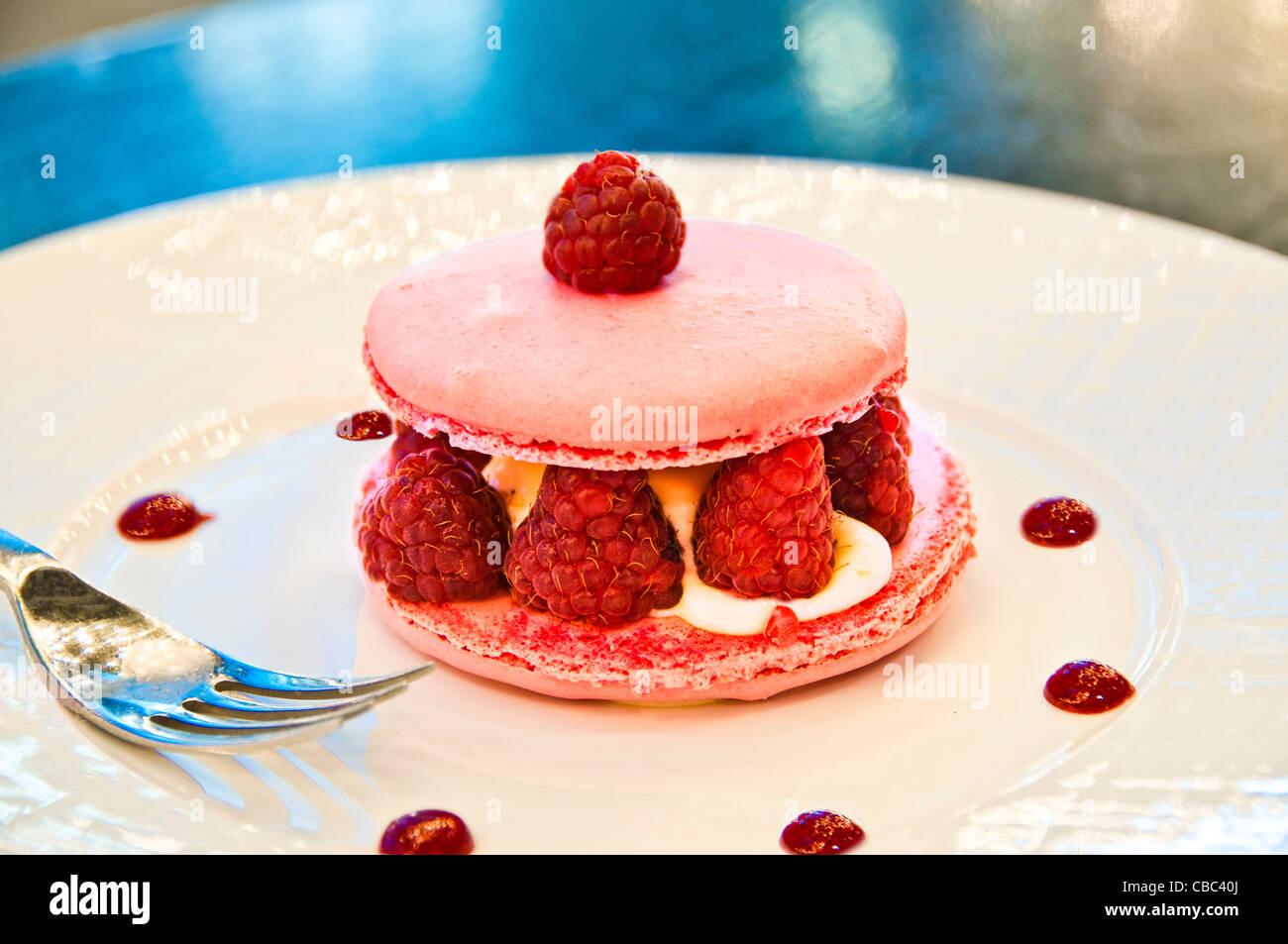 Parisian macarons French authentic Laduree - Stock Image