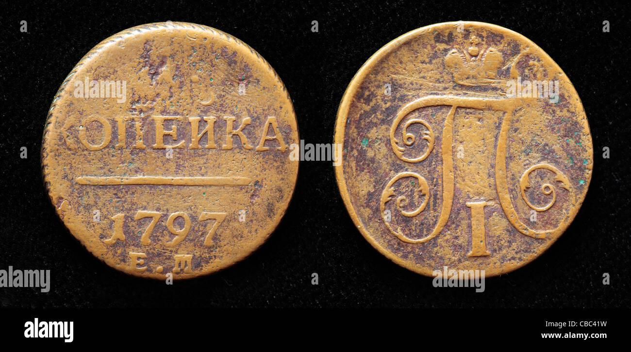 1 Kopek coin, Russia, 1797 - Stock Image