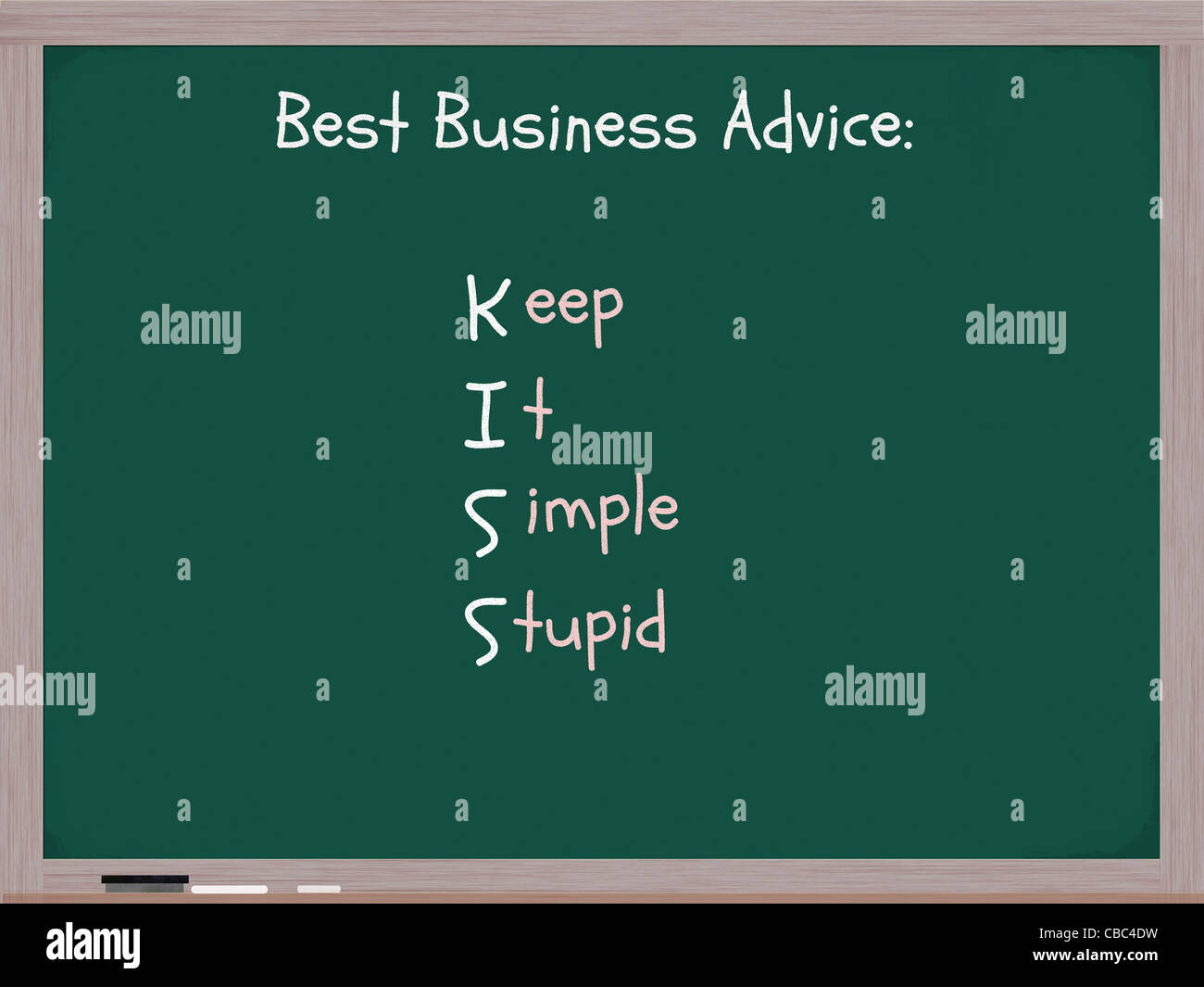 A chalkboard with the words Best Business Advice KISS acronym Keep It Simple Stupid. - Stock Image