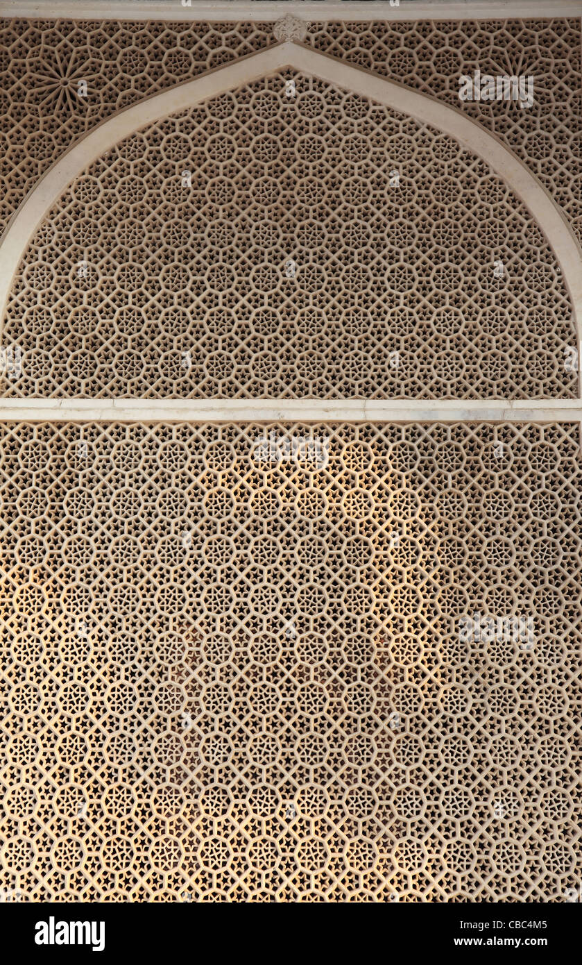 filigree,screen,shrine,elaborate,architecture,fatehpur sikri,Agra,India,ornate - Stock Image
