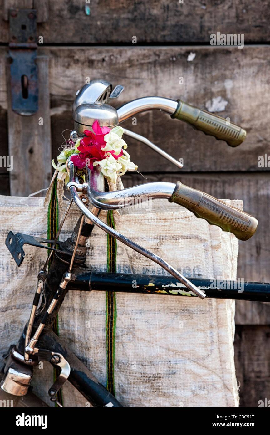 Traditional Indian bicycle handlebars abstract. India - Stock Image