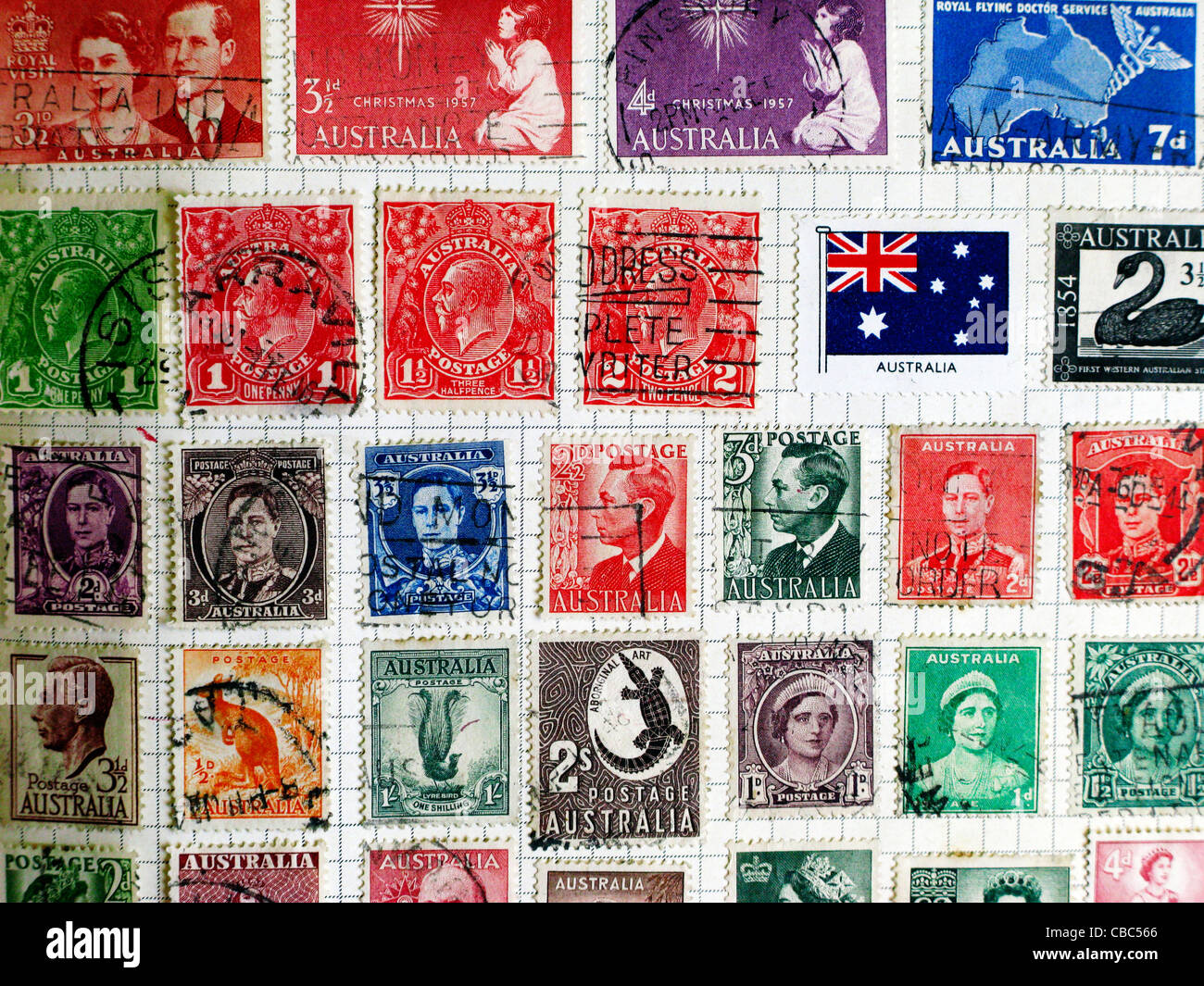 Old Stamps from Australia - Stock Image