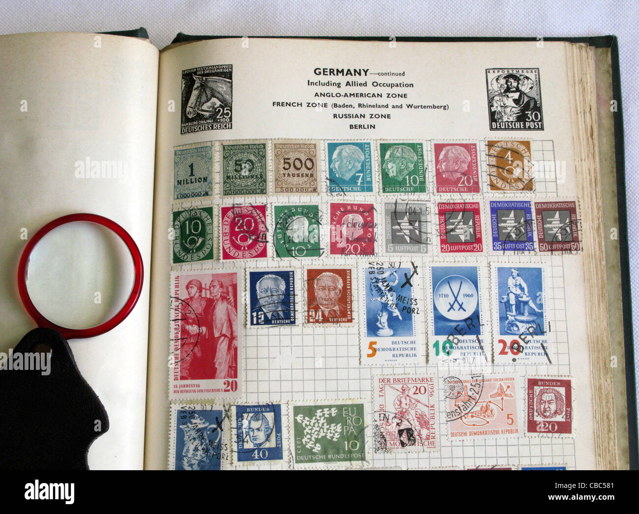 Old Stamp Album - Stock Image