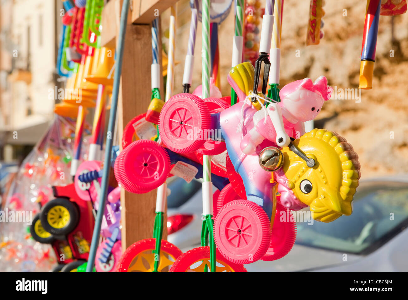 Close up of toys for sale - Stock Image