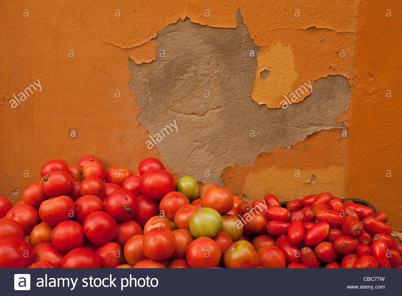 Tomatoes piled against concrete wall - Stock Image