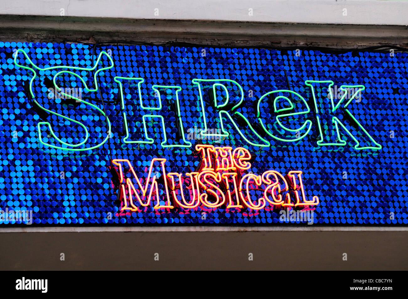 Shrek The Musical Sign, Theatre Royal, Drury Lane, London, England, UK - Stock Image