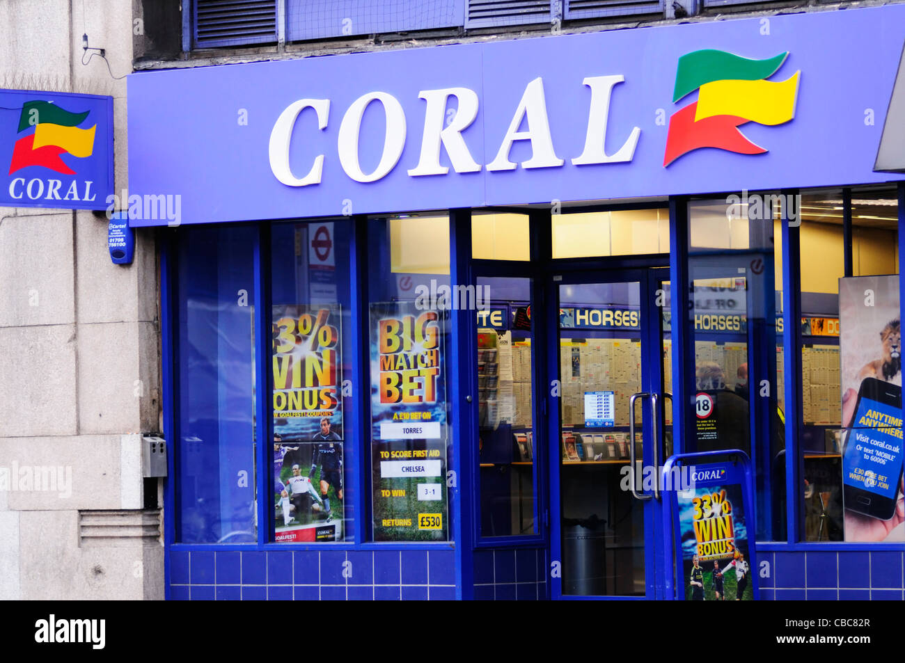 Coral Betting Shop, London, England, Uk - Stock Image