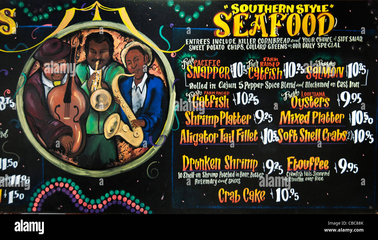 New Orleans Menu Southern Style Sea Food Restaurant Cajun Jambalaya Seafood Cumbo United States - Stock Image