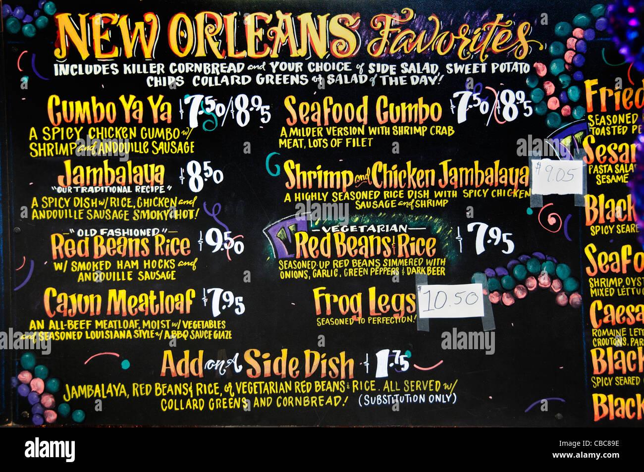 New Orleans Menu Southern Style Restaurant Cajun Shrimp Chicken Jambalaya Seafood Gumbo United States - Stock Image