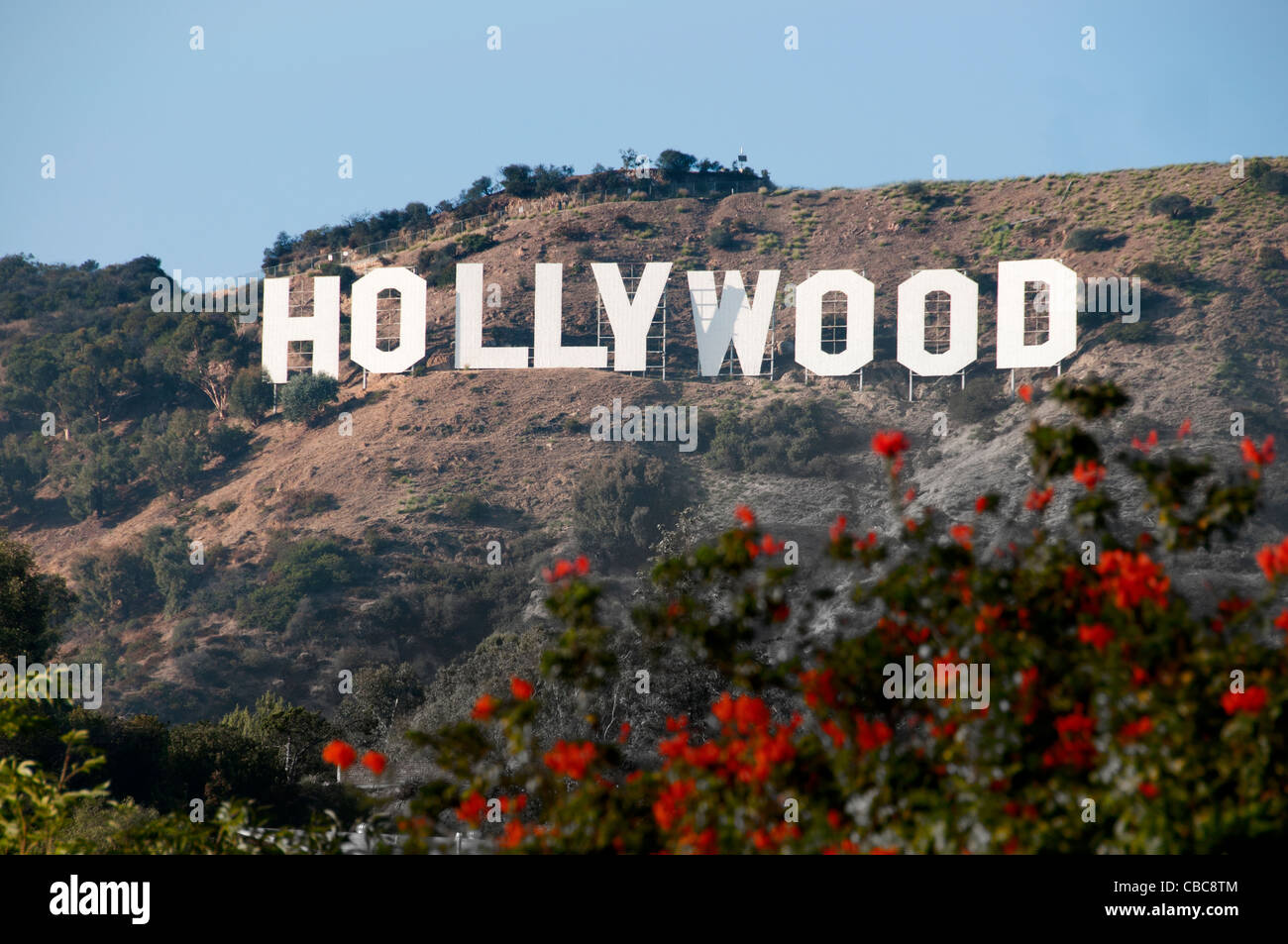 The Hollywood sign Hollywood Hills from Griffith Observatory Los Angeles California United States - Stock Image