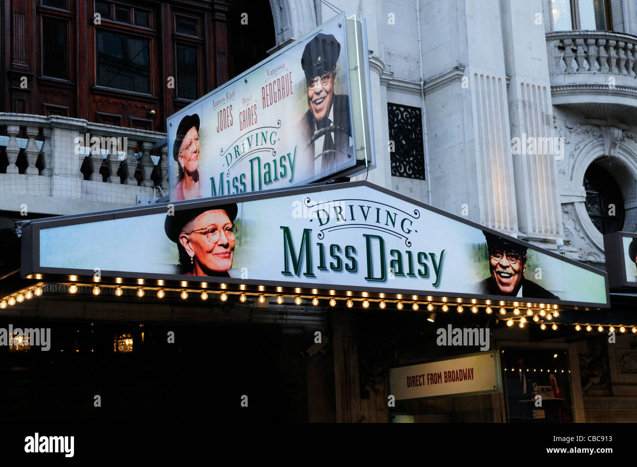 Driving Miss Daisy Billboard at Wyndham's Theatre, Charing Cross Road, London, England, UK - Stock Image
