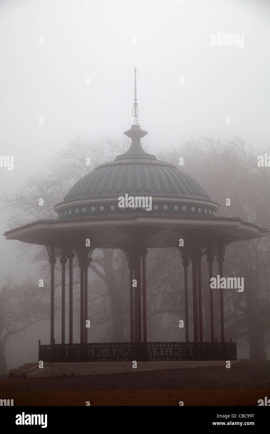 Clapham Bandstand in Fog - Stock Image