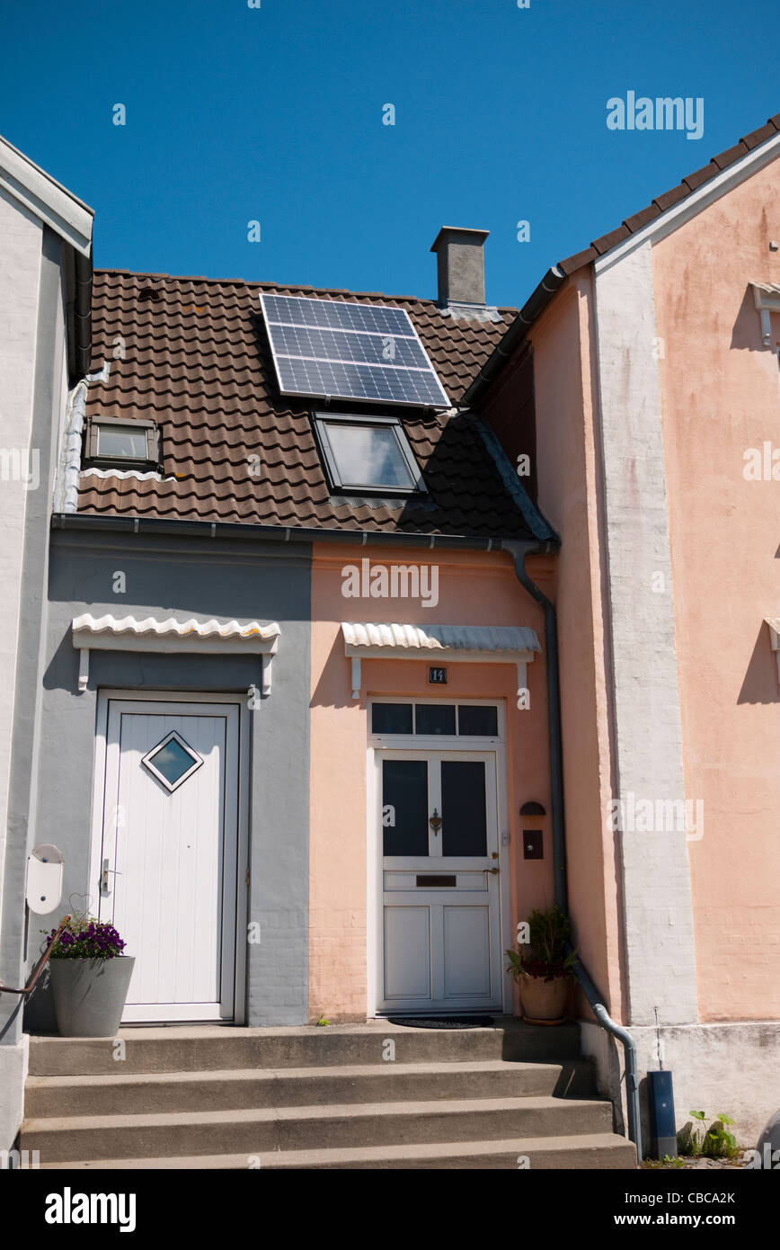 Small domestic 0.6 kilowatt PV system on private roof - Stock Image