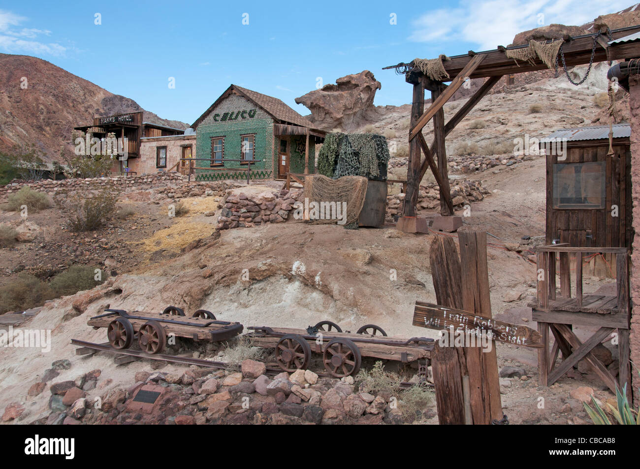 California Barstow Calico ghost  town old silver mining gold rush California United States - Stock Image